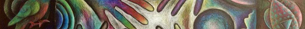 kleurrijke tekening van de aarde met handen eromheen. Verder vogels, bloemen en vissen en een vlinder.